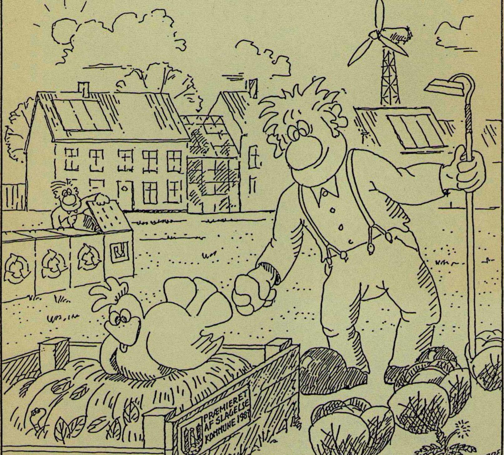 Illustration fra forsiden af rapporten om Grøn By i Slagelse og håbet for den grønne udvikling.