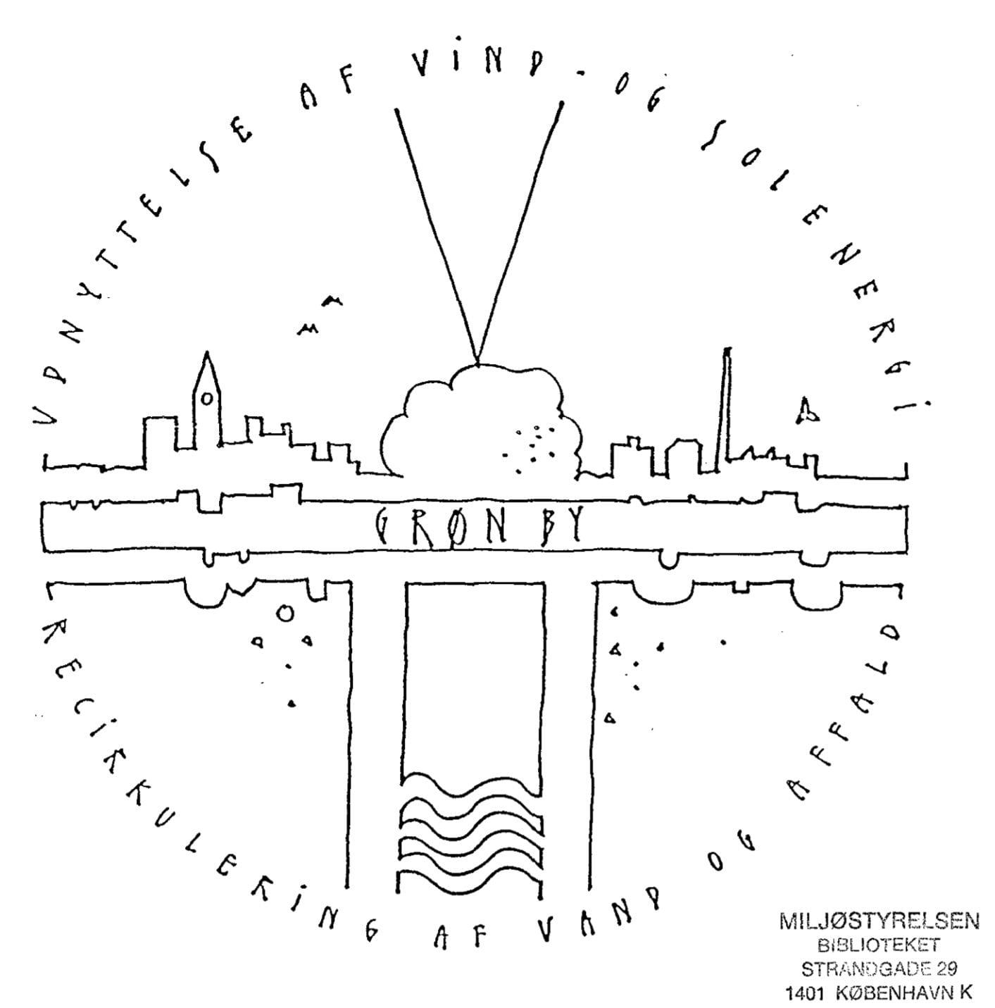 Logoet fra projektet Grøn By i Slagelse fra 1988.